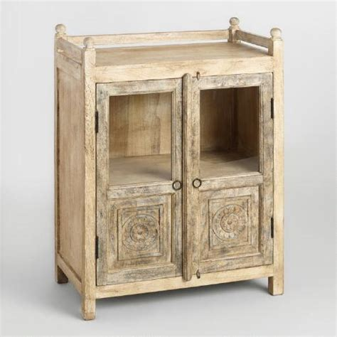 Distressed Cabinet Doors Distressed Antique Cabinet With Glass Doors World Market