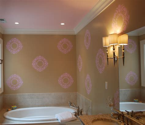 Interior Paint Stencils by Wall Paint Stencils For Bathdrooms With Pink Wall
