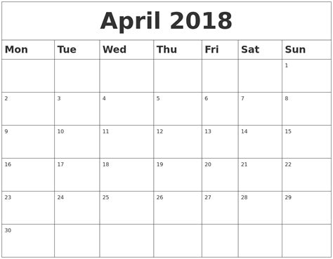 Calendar 2018 Printable Monday Start April 2018 Blank Calendar