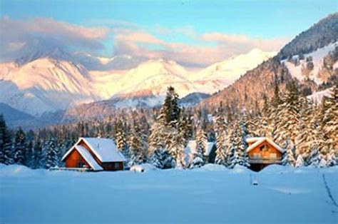 Multi Family House Plans Duplex Winter Ski Cabins In Snow With Chugach Mountains