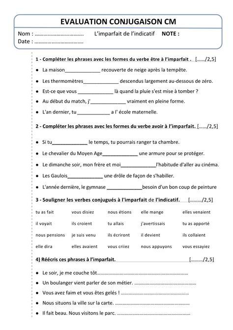 exercices de thme grammatical evaluation cm conjugaison l imparfait bout de gomme enseigner le francais