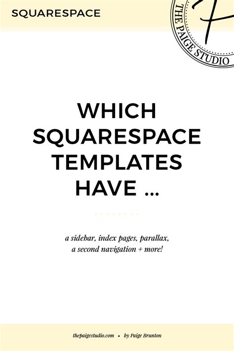 Which Squarespace Templates Have A Sidebar Index Parallax Second Navigation More Paige Squarespace Templates With Side Navigation