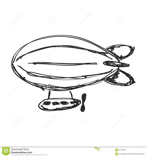 doodlebug zeppelin simple doodle of an airship stock illustration image