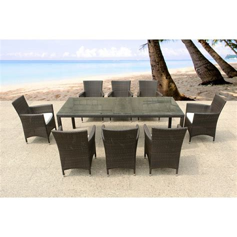 Outdoor Dining Tables For 8 Italy 220 Wicker Patio Table And Chairs Outdoor Dining Set For 8 By B