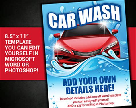car wash poster template free fundraiser poster etsy