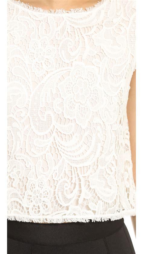 Ens Dress Racel Spandex Soft 45 lyst zoe nigel lace shell top ivory in white
