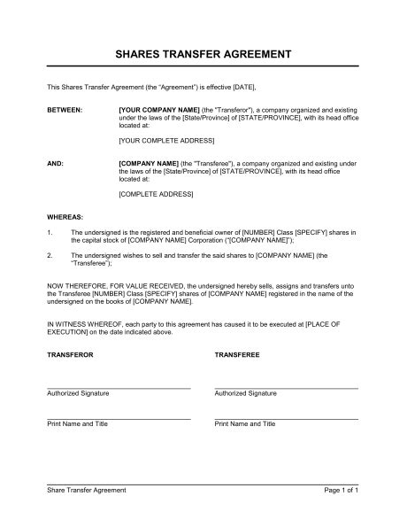 Shares Transfer Agreement Short Template Sle Form Biztree Com Assignment Of Shares Template