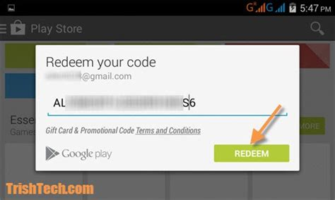 Gift Card Redemption - how to redeem google play gift coupons in android
