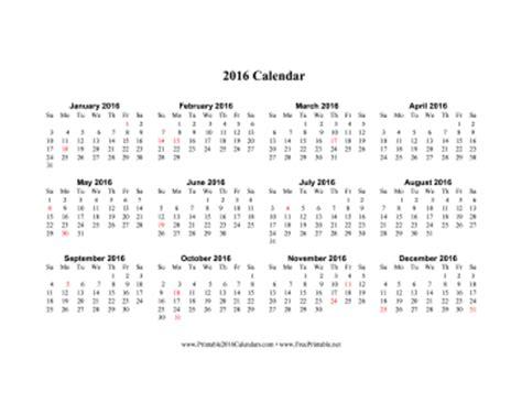 printable calendar 2016 horizontal printable 2016 calendar on one page horizontal holidays