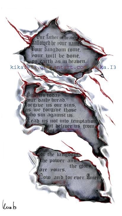 lords prayer tattoo prayer commission by kika1983 on deviantart