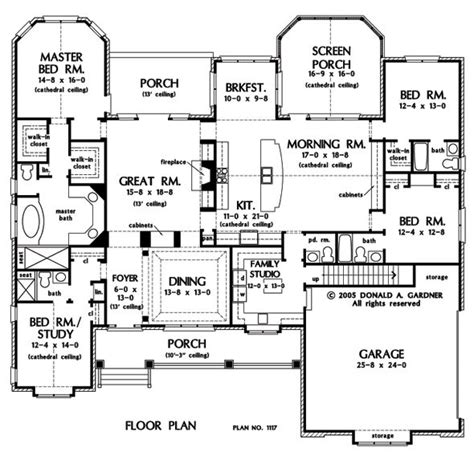 single story house plans with bonus room first floor plan of the clarkson house plan number 1117