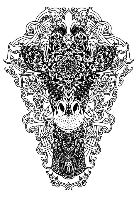 giraffe mandala coloring pages head of a giraffe animals coloring pages for adults