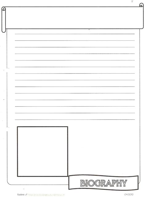 biography planning template 8 best images of printable notebook pages free printable