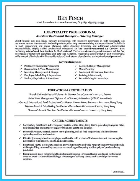 excellent resume format sle 29 sle culinary resume resume exle 47 college of culinary resume exles