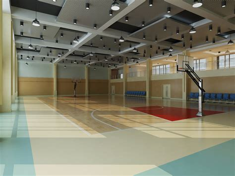 basketball courts with lights basketball court with multiple ceiling lights 3d model max