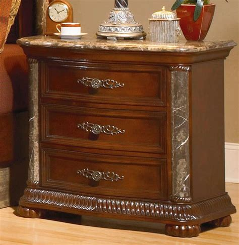 bedroom set with marble top homelegance catalina night stand marble top and pilaster