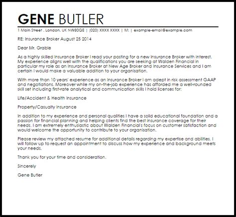 insurance broker cover letter sle gene butler