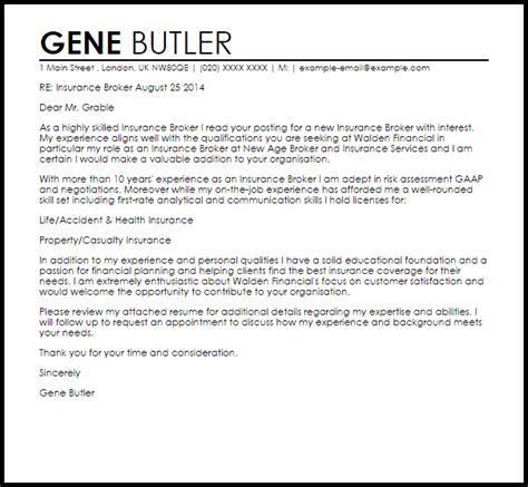 Insurance Broker Cover Letter Sample   LiveCareer
