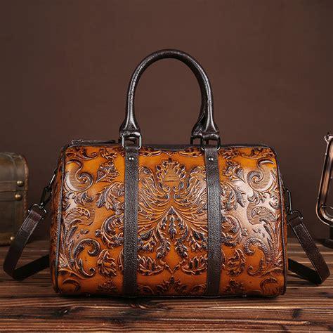 Bag Fashion Motif Kulit Jeruk high quality genuine leather handbag fashion design floral printing casual tote bags