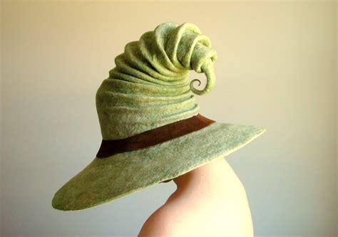 wide brim wizard hat green with brown leather band by