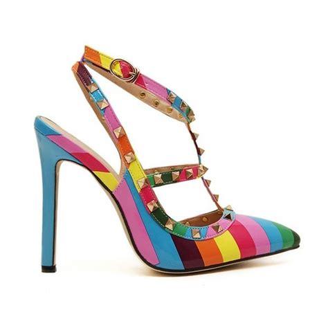 rainbow high heels 2015 fashion rivet sandals rainbow high heels