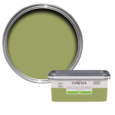 colours green silk emulsion paint 2 5l departments diy at b q