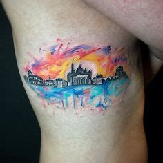 watercolor tattoo roma 1000 ideas about skyline on
