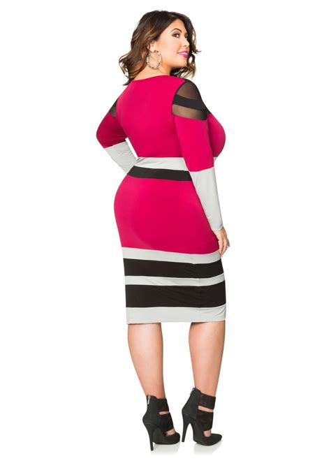 Dress Tri tri color mesh colorblock dress plus size dresses
