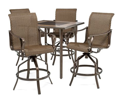 Rochester Woven 5pc Bar Height High Dining Patio Set ? La