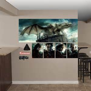 harry potter wall mural deathly hallows dragon mural wall decal shop fathead