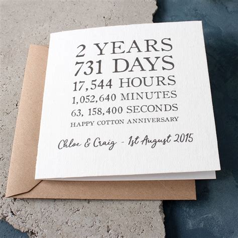 2nd Wedding Anniversary Ideas Uk by Personalised Time Card Cotton 2nd Anniversary
