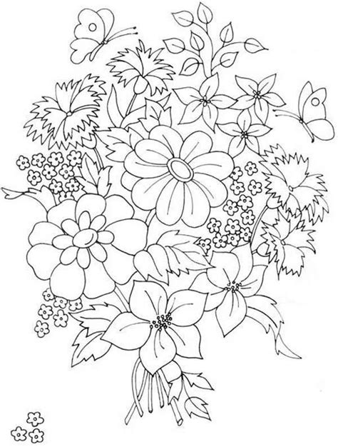 coloring pictures of beautiful flowers flower bouquet pattern hand embroidery patterns