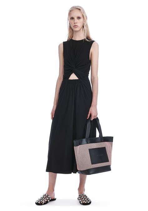 Dress 101525580 Black Official wang front twist sleeveless midi dress dress official site