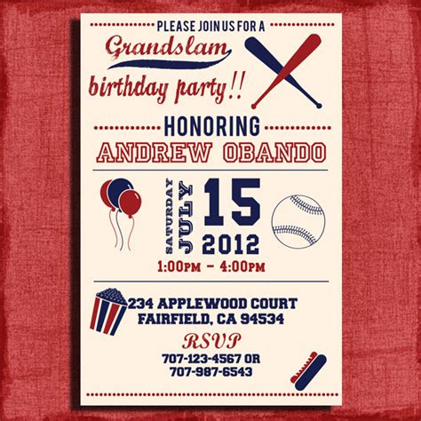 vintage baseball birthday invitation 4x6 or 5x7