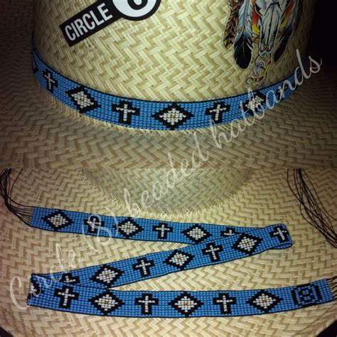 circle 8 beaded hat bands circle 8 beaded hatbands blue with crosses fund us