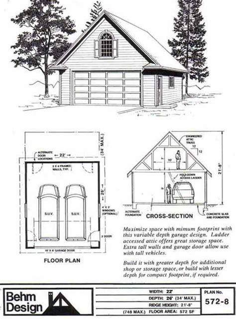 garage roof truss design colonial style two car garage with attic truss roof plan 572 8 22 x 26 by behm design garage