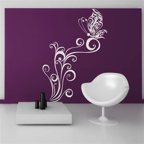 flower and butterfly wall stickers wallstickers folies butterfly flower wall stickers