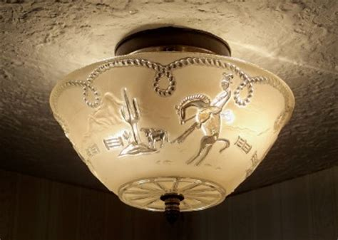 Western Ceiling Light Fixtures vintage 30 s western cowboy glass ceiling light fixture ebay