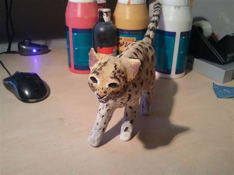 How To Make A Paper Mache Cat - paper mache ozelot cat malerei