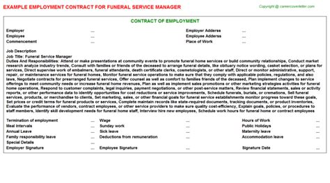 directors service agreement employment contract funeral employment contracts agreements contracts