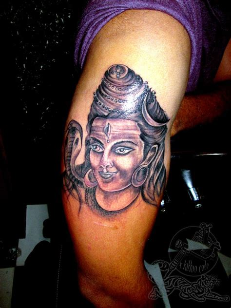 tamil tattoo designs for men grey ink religious hindu god lord shiva on half sleeve