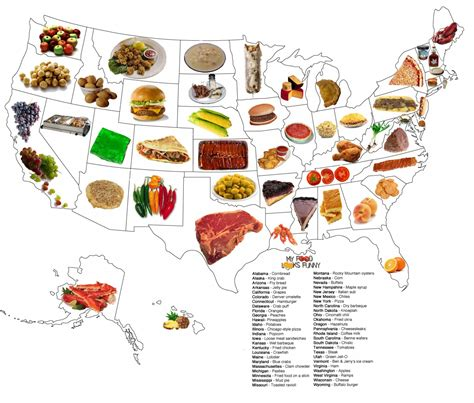 map of us what states are known for state food map visual ly