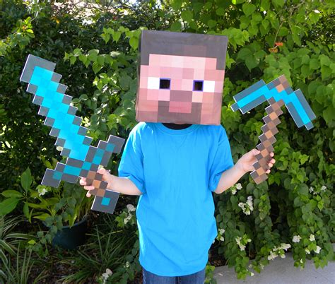 diy steve minecraft costume how to make a minecraft sword and pickaxe