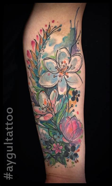 watercolor tattoo wildflowers best 25 watercolor sleeve ideas on