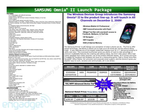 samsung support usa official site verizon s samsung omnia ii launching december 2 for 200