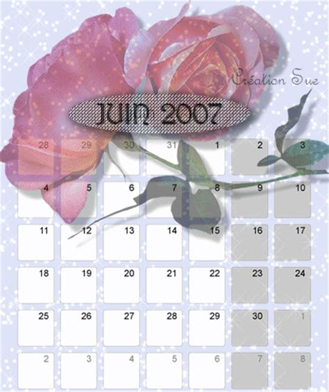 Calendrier Juin 2007 Calendrier Juin 07