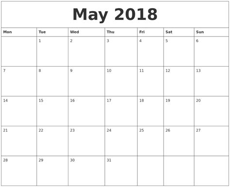printable calendar 2018 monthly may 2018 monthly printable calendar
