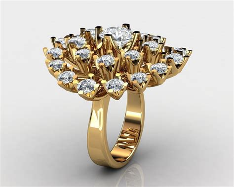 yellow gold snowflake engagement ring 3d model 3d