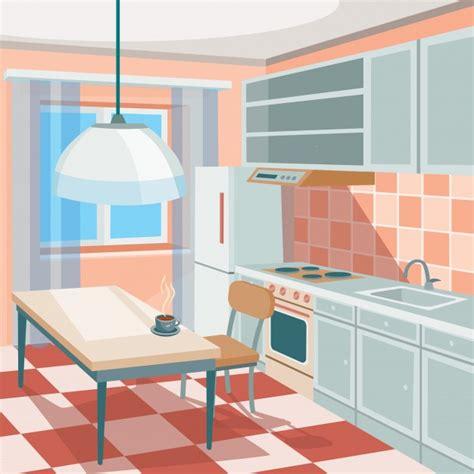 kitchen cartoon vector cartoon illustration of a kitchen interior vector