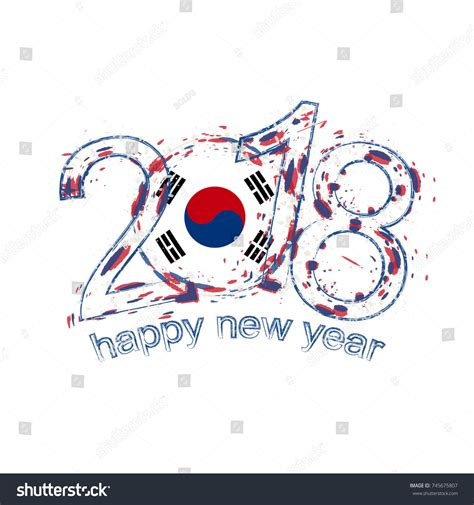 new year korea 2018 2018 happy new year south korea stock vector 745675807